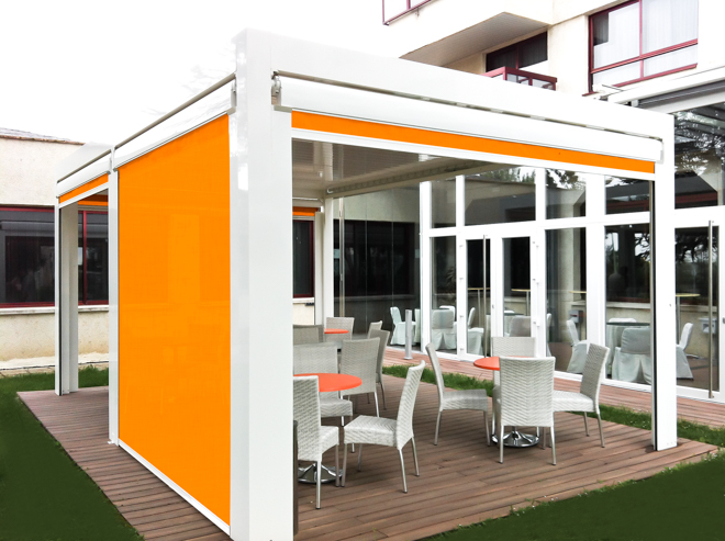 White remotley operated all weather pergola
